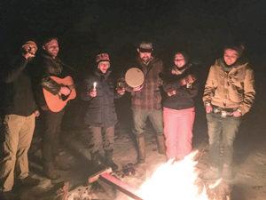 Celebrants enjoy the Pearlstone Center's Havdallah bonfires. (Mira Menyuk)