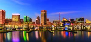 Inner Harbor Baltimore Maryland at night