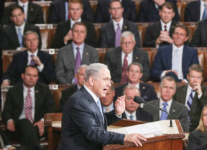 Some point to Israeli Prime Minister Benjamin Netanyahu's speech before Congress in March 2015 (pictured) at the invite of then-speaker John Boehner as an indication that Israel was becoming a partisan issue.
