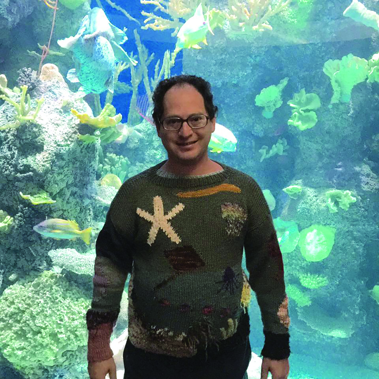 Sam Barsky sports a home-made sweater at the Shedd Aquarium in Chicago. (Provided)