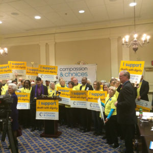 (Supporters rally for the End-of-Life Option Act.)