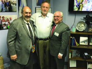 From left: Stuart Diamant-Cohen, IDF Brig. Gen. Bentzi Gruber and Leon Berg (Photo by Daniel Nozick)