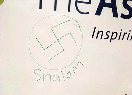 Community Gathers at B'nai Israel After Swastika Drawn on Sign