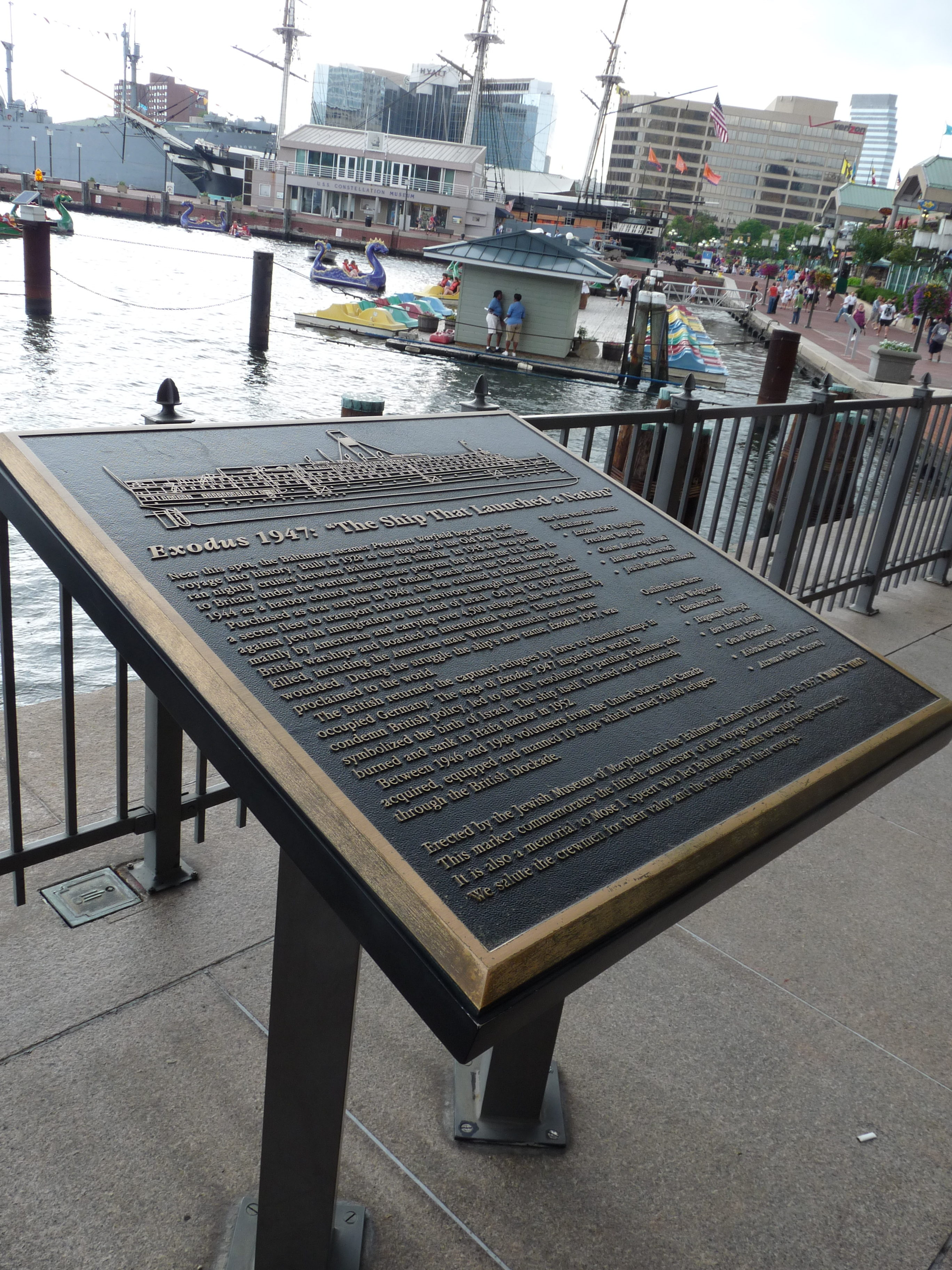 The Baltimore 50th Anniversary Memorial To Exodus 1947 Is At The Base Of  The World Trade Center In The Inner Harbor (photo Provided)