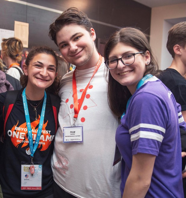The author (right) with Tyler Yurganov and Sophie Rosenberg, two Baltimore teens who participated in the program.