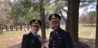 Rabbi Chesky Tenenbaum and Col. Erwin Burtnick at this years Veteran's Day Kaddish Service at Garrison Forest Veterans Cemetery. (Tenenbaum)