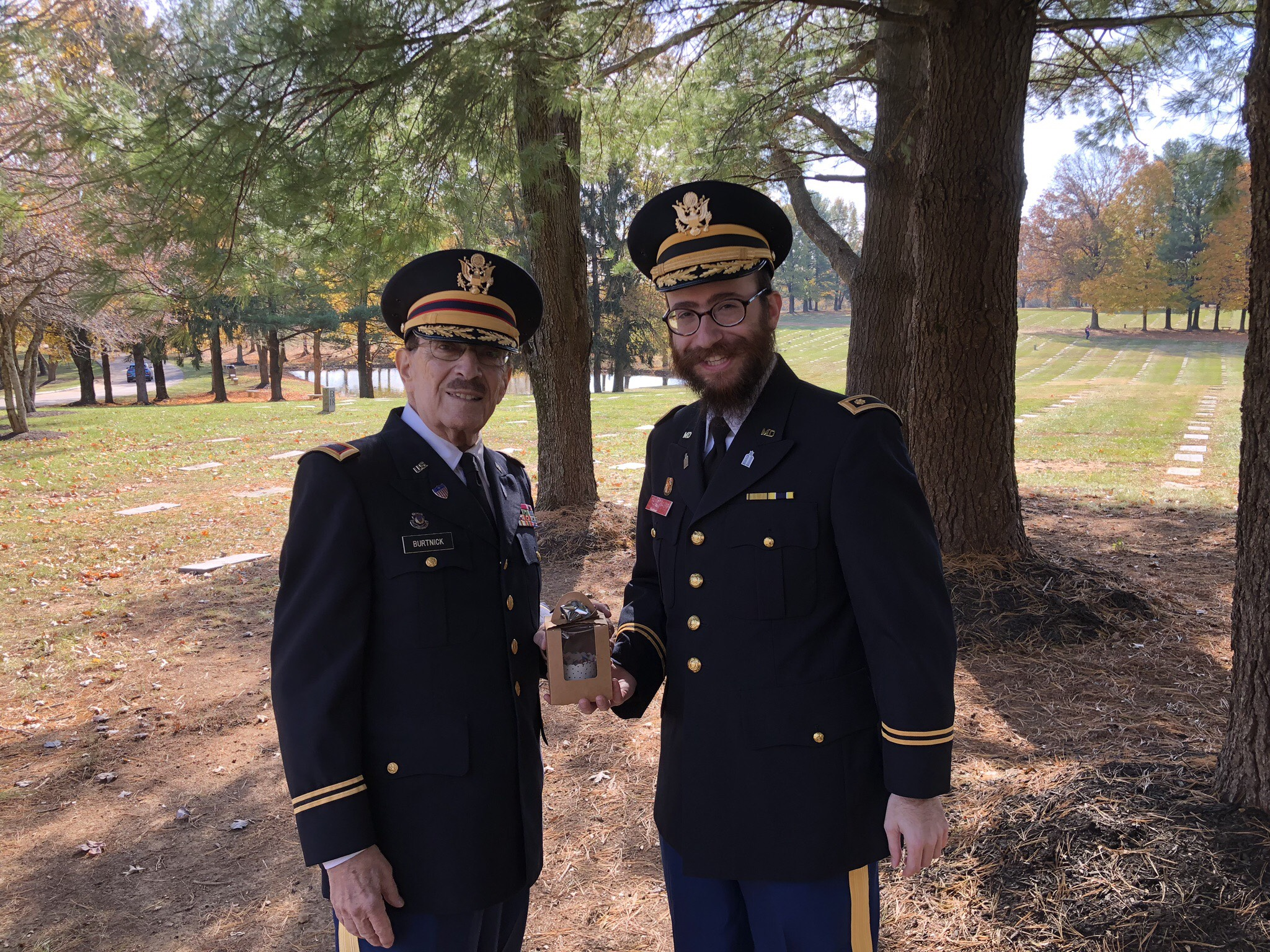 Rabbi Chesky Tenenbaum and Col. Erwin Burtnick at this years Veteran's Day Kaddish Service at Garrison Forest Veterans Cemetery. (Tenenbaum)