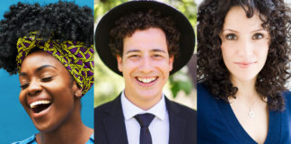 Three Jewish people-- two women and one man wearing a black hat-- with curly hair.