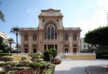 Exterior of stone synagogue.