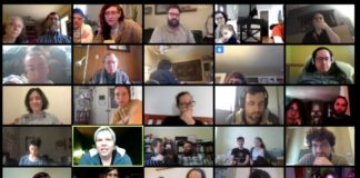 a group of people video chat into a Torah study