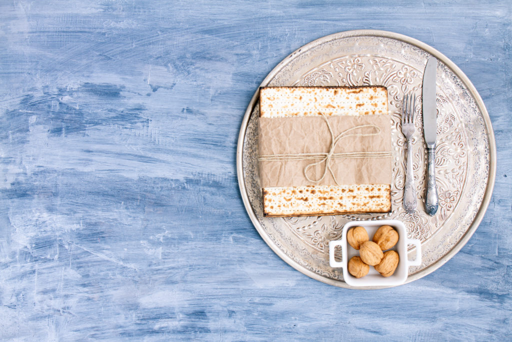 matzah and nuts on a plate