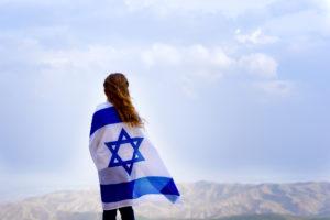 girl wearing an israeli flag