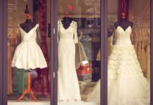 window display with 3 wedding dresses