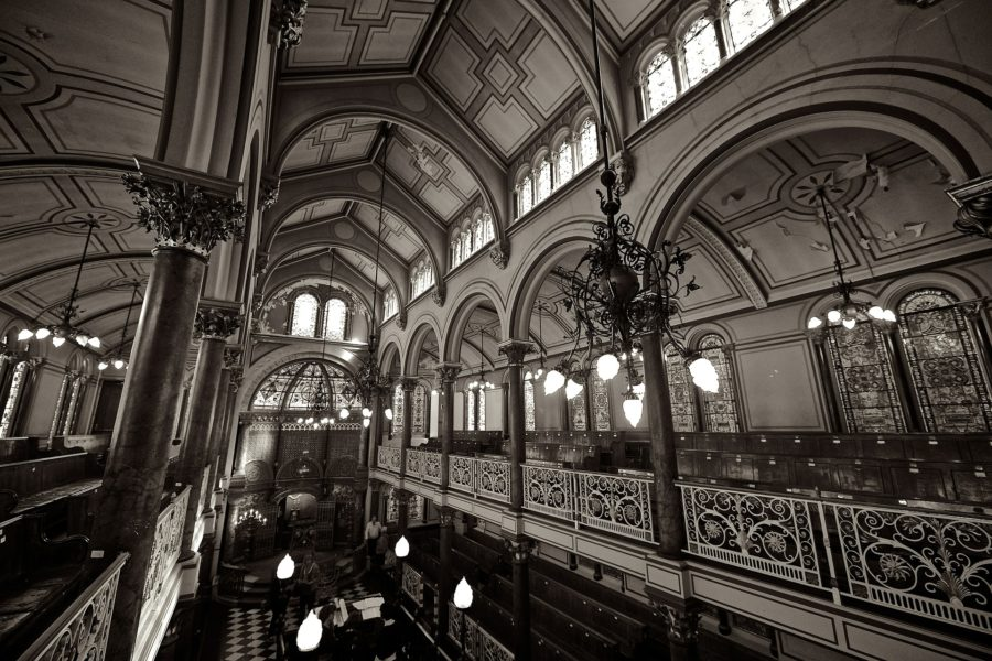 interior of a synagogue with a vaulted arched ceiling