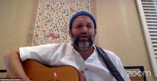 Rabbi Benjamin Shalva welcomed Shabbat with music during Chizuk Amuno Congregation's Friday night services, June 12.