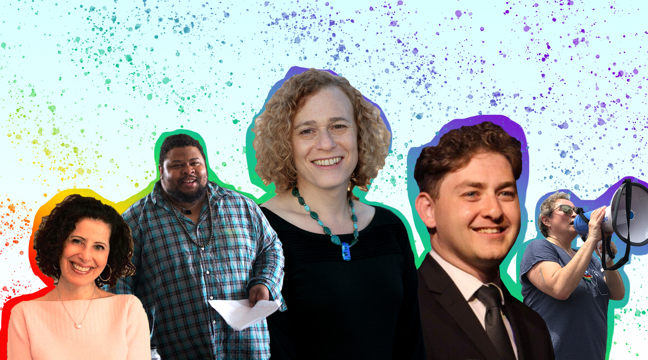 Pride month; From left to right, Lesléa Newman, Michael Twitty, Joy Ladin, Daniel Atwood and Yelena Goltsman reflect on celebrating Pride in 2020. (Header image design by Grace Yagel)