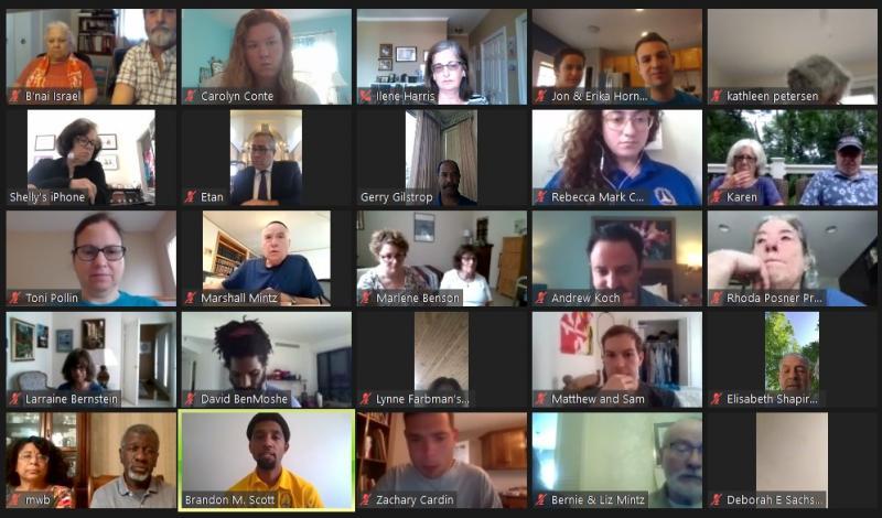 Black and Jewish Baltimore speakers talked ashkenormativity at Bnai Israel, photo screenshot by Carolyn Conte