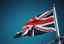 British flag with sky in the background