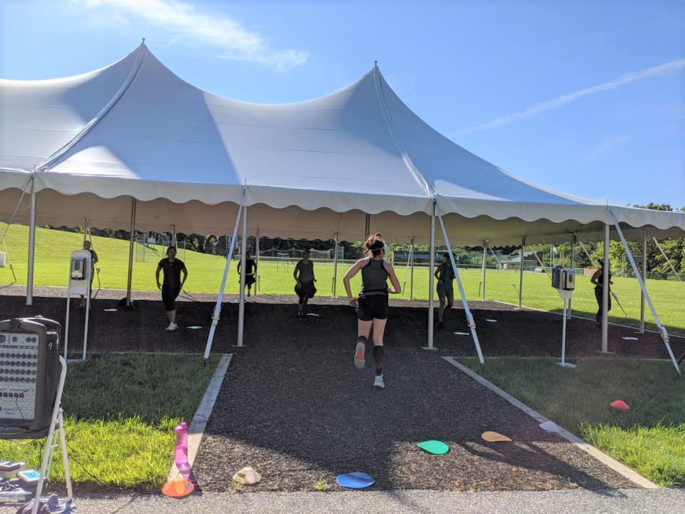 Outdoor fitness class at the Owings Mills JCC.
