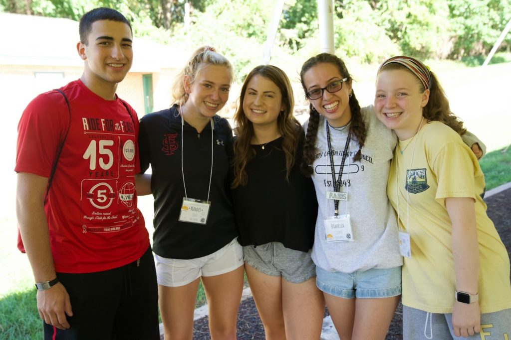 From left to right: 4 Front Baltimore teen participants and 2019 Peer Leadership Fellows Ezra Kaye, Maddie Love, Becca Kiewe, Daniella Cooper and Emma Paige