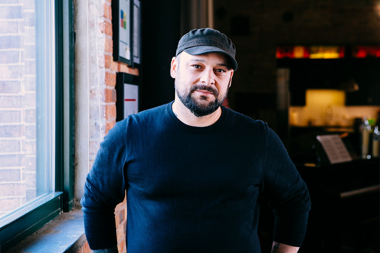 Christian Picciolini talked with Beth El (photo by Dennis Sevilla)