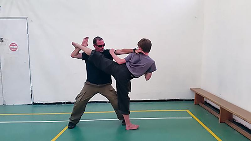 """Alexander Borschel practicing karate in """"the deep desert,"""" 2017"""
