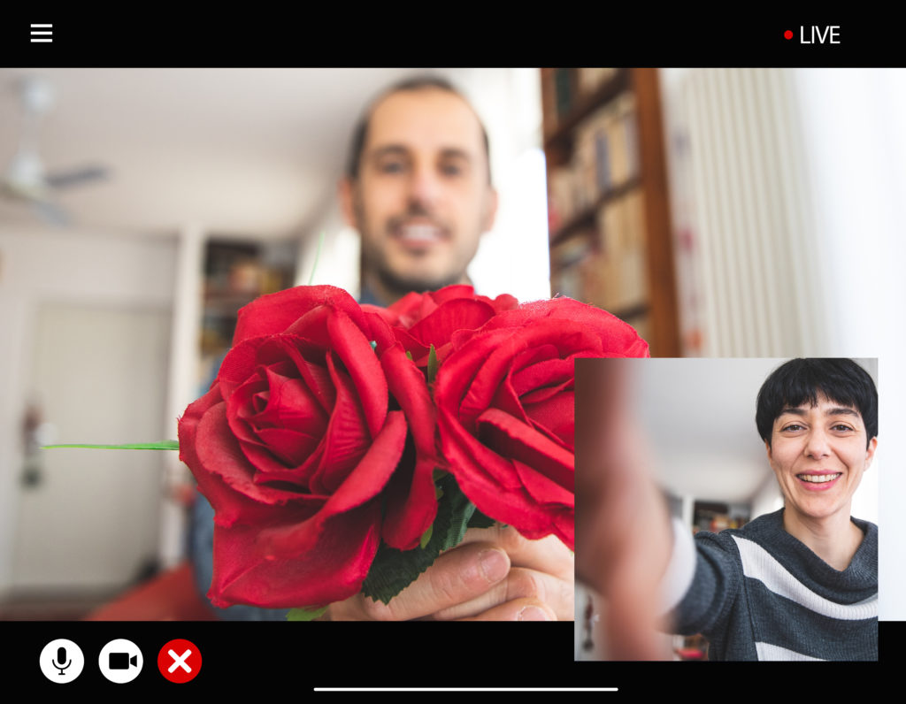Picture of roses on video chat.