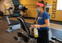 At the JCC in Overland Park, Kan., gym equipment is cleaned between uses to limit the possibility of coronavirus infection. (Courtesy of JFGKC)