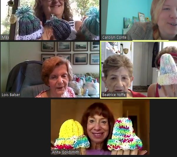 Covenant Guild knitters met via Zoom for the JT (Carolyn Conte)