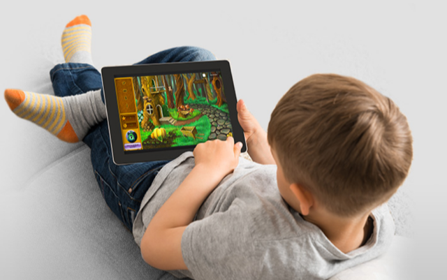 Child using a tablet computer