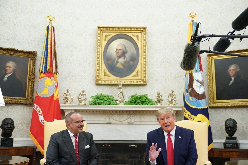 President Donald Trump speaks with Bahrain's Crown Prince Salman bin Hamad bin Isa al-Khalifa