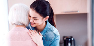 woman hugs grandmother