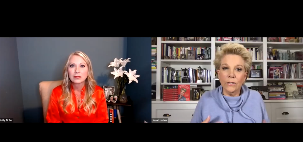 Holly Firfer speaks with Joan Lunden on Zoom