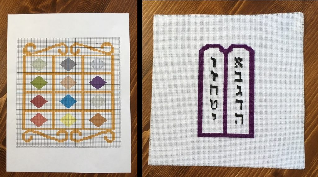 Cross stitch pattern representing the 12 tribes of Israel (left) and a cross stitch block depicting the 10 commandments.