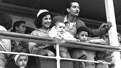 Moroccan Jewish immigrants landing in the port of Haifa in 1954