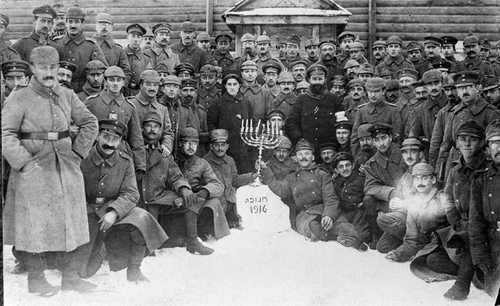 German Jewish soldiers hold a Chanukah celebration in Poland in 1916