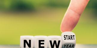 "dice reading ""new start"""