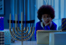 Puppy for Hanukkah scene