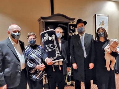 Avron Lewin, Jacqui Juter, Elton Juter, Rabbi Levi Druk and Chani Druk