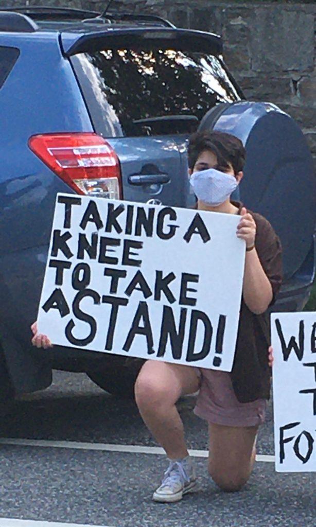 Mali Glazer at a protest