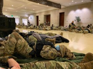 Soldiers sleeping on the floor of the U.S. Capitol building