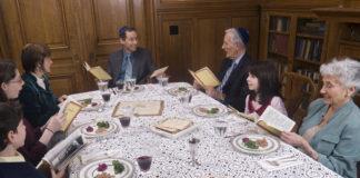 A family celebrates the seder