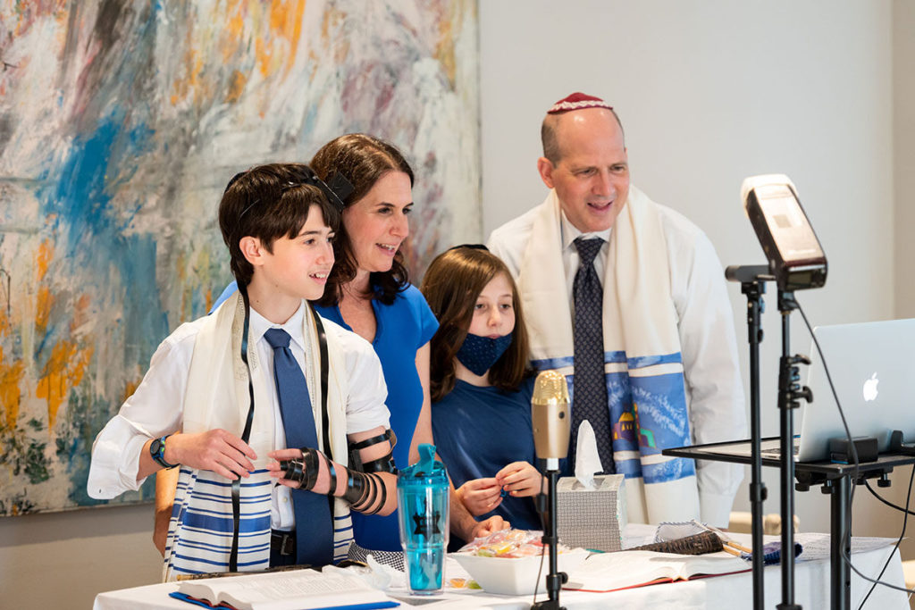Jennifer Zwilling, Jon Rosenwasser and their family at their son's Zoom bar mitzvah