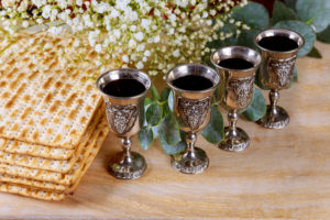 four glasses of kosher wine for Passover