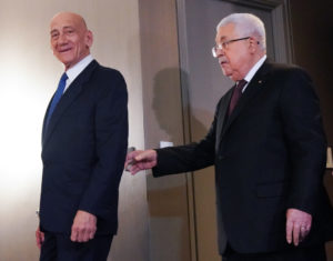 Palestinian president Mahmoud Abbas and former Israeli Prime Minister Ehud Olmert