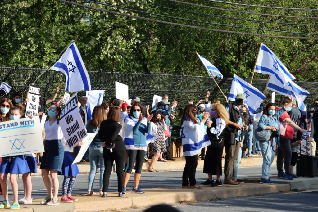 Demonstrators rally in support of Israel outside of Chizuk Amuno Congregation, May 13