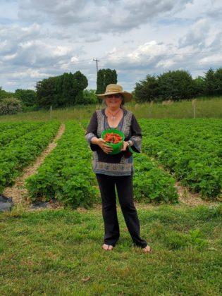 Joan Plisko with strawberries