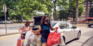 Erica Bloom collects meals for JVC's Bunches of Lunches program