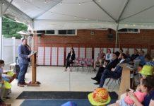 Rabbi Yechiel Shaffer addresses members of Pikesville Jewish Congregation during the groundbreaking ceremony.
