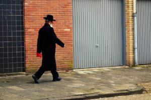 Orthodox Jewish man walking